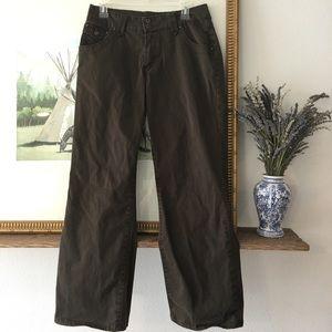 Jag Wide Leg Trouser Jean Pants Brown Flap Pockets